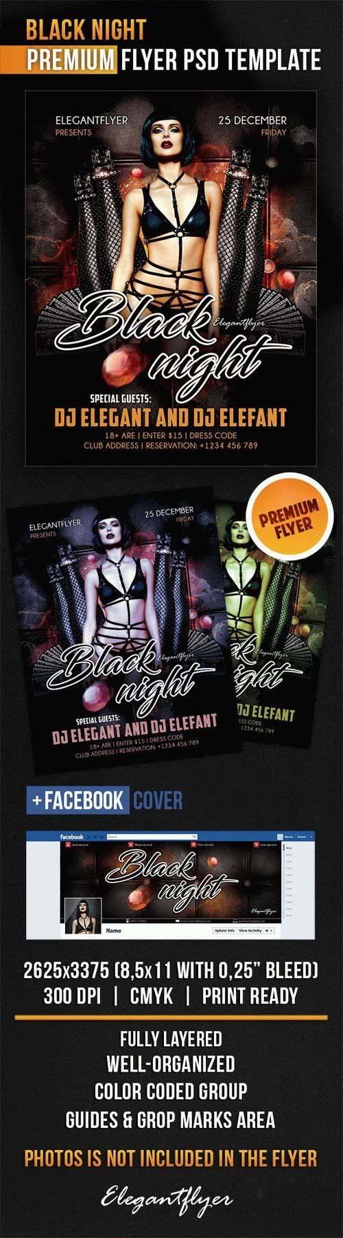 Black Night – Flyer PSD Template + Facebook Cover PSD