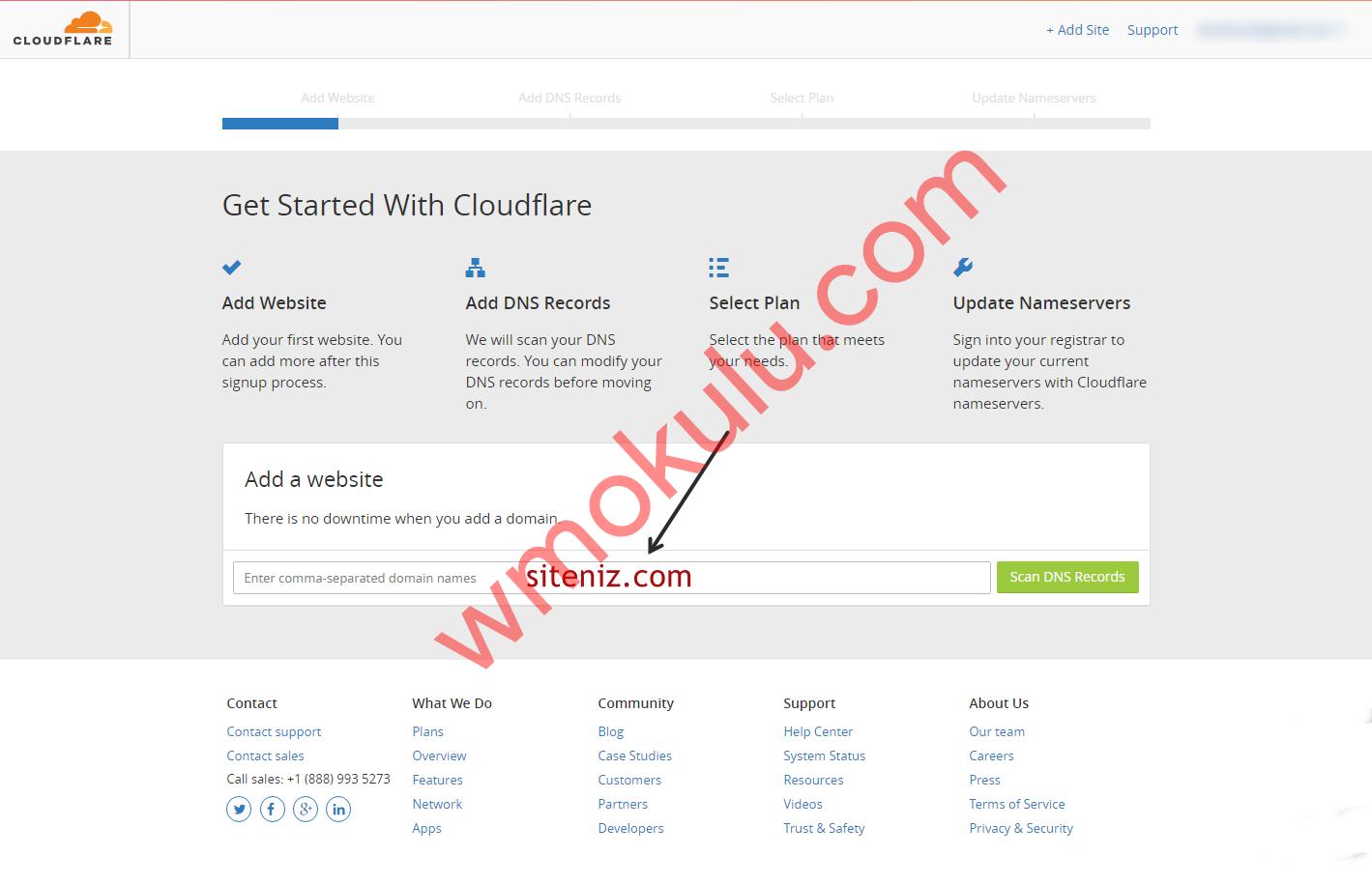 CloudFlare Site Ekleme