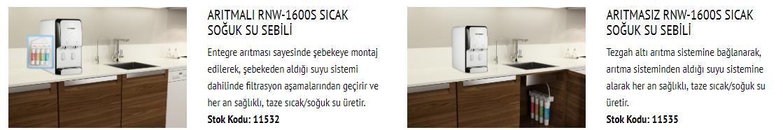 M19pP2 RNW 1600S TEZGAH ÜSTÜ ARITMALI SEBİL