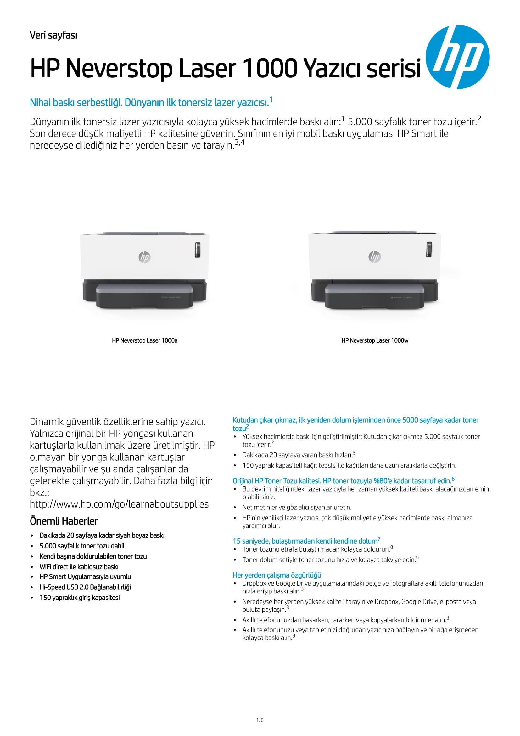 Hp Neverstop Laser 1000w 4ry23a Kablosuz Tankli Lazer Yazici