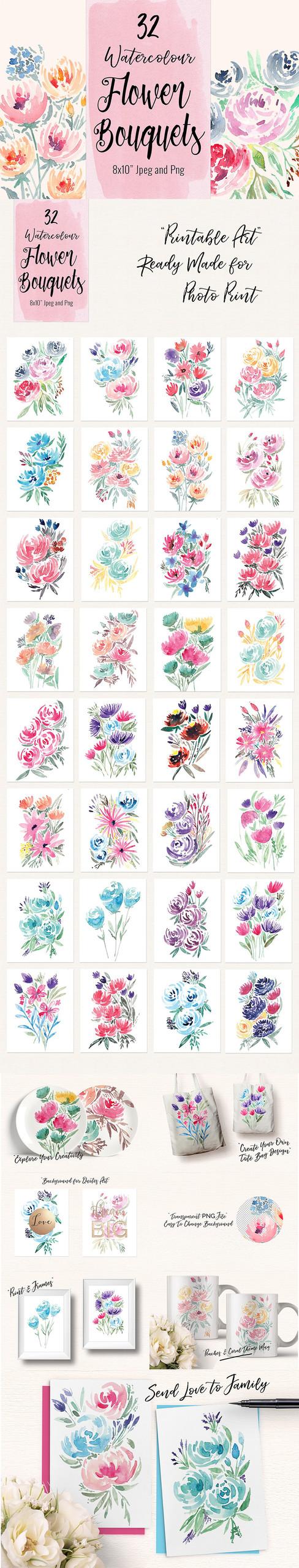 32 Suluboya çiçek seti