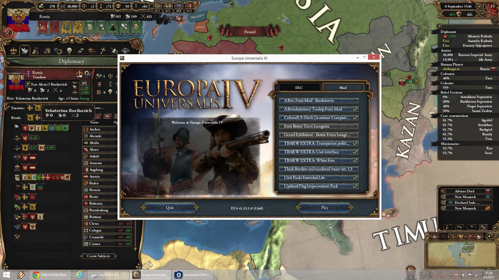 Kullandığınız Grafik Modları - Europa Universalis IV