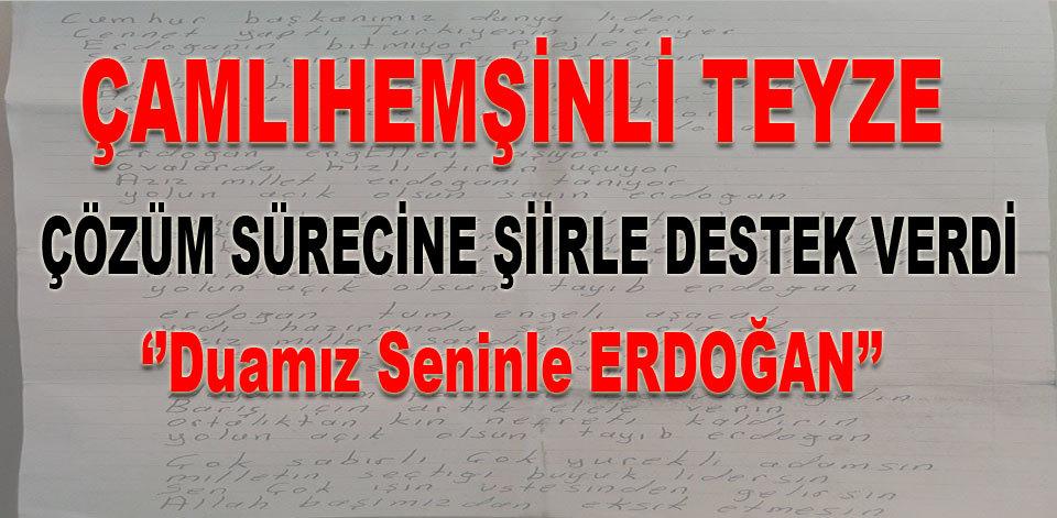 �aml�hem�inli Havva Teyze'den Erdo�an'a �iir