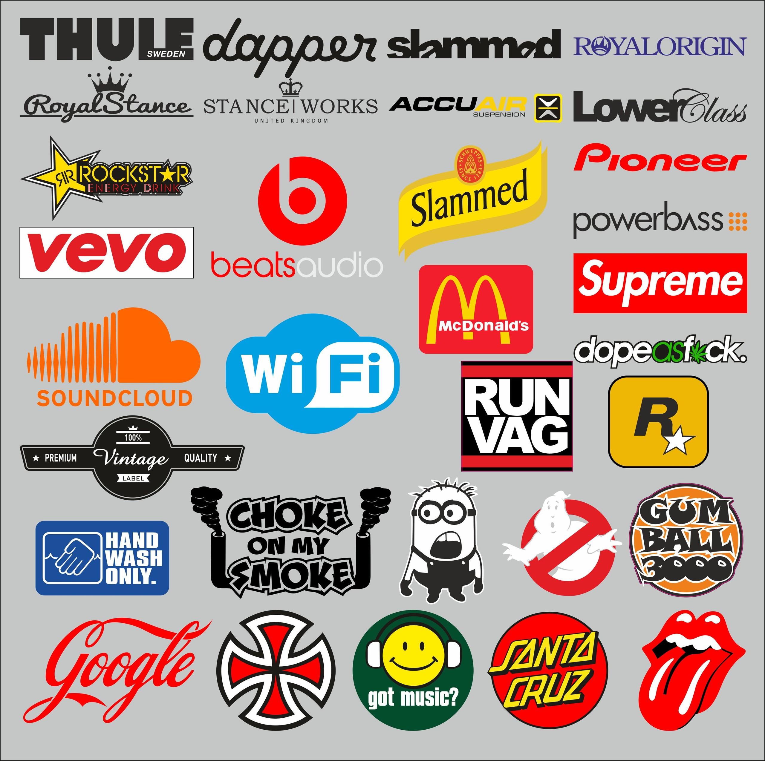 thule dapper slammed royal stance suprame google cocacola santa cruz got music elit sticker etiket