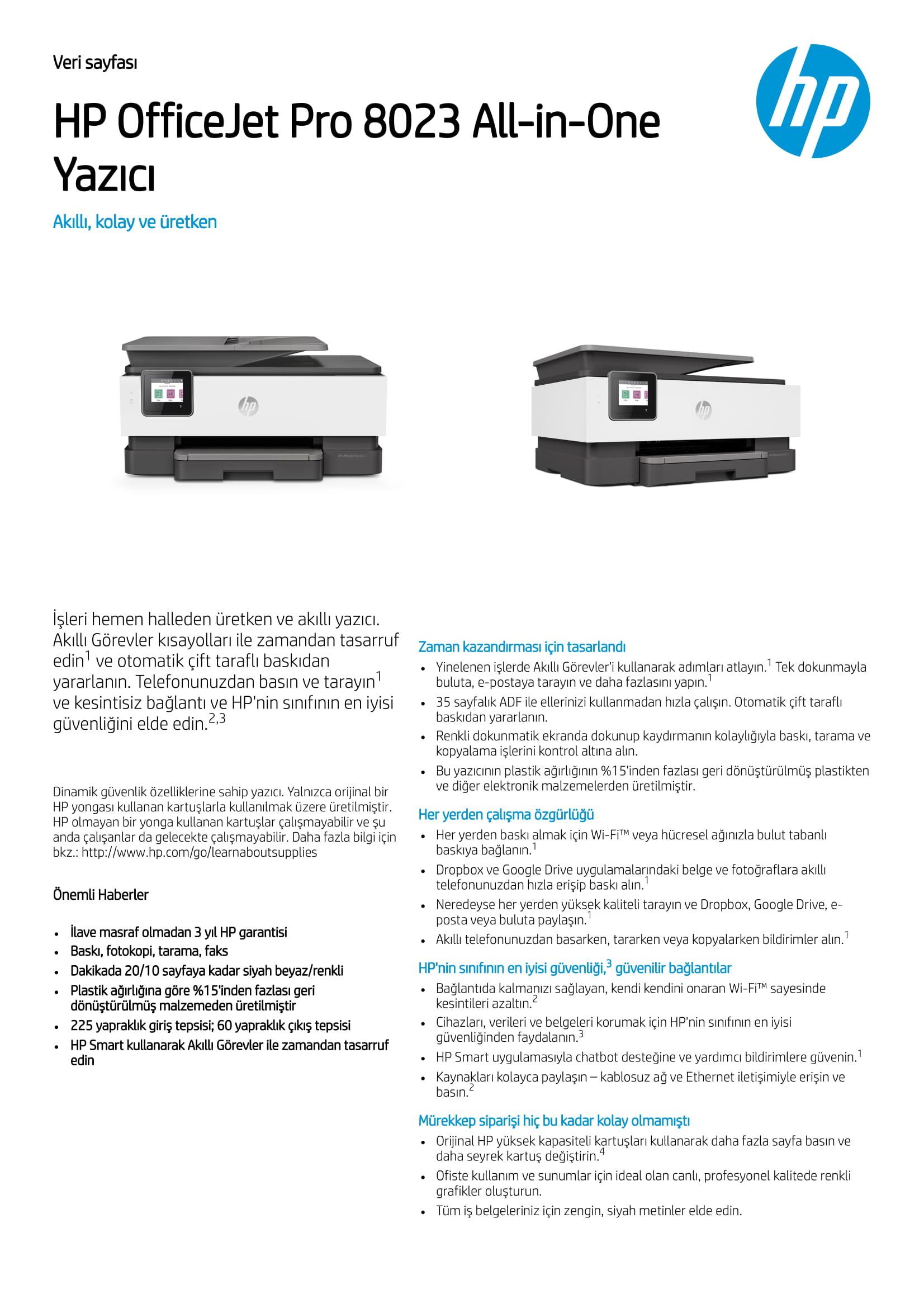 Hp Officejet Pro 8023 Fotokopi Faks Tarayici Wi Fi