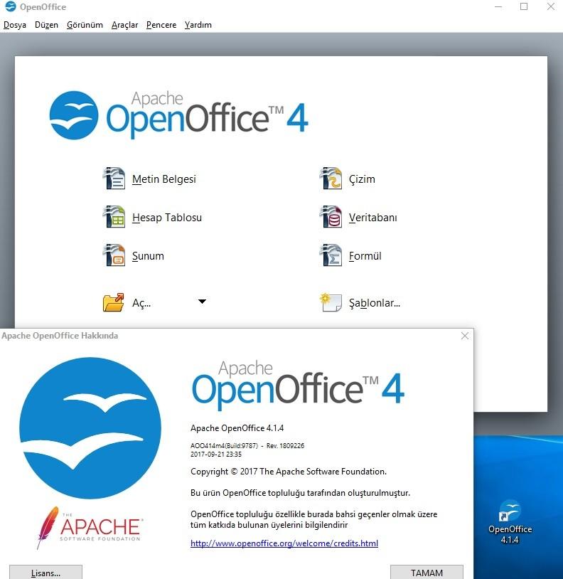 Apache OpenOffice 4.1.5 Türkçe   Katılımsız