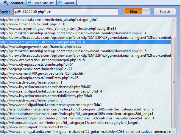 Hedef Sitenin Sunucusundaki Sitelerde Otomatik Sql Bulma