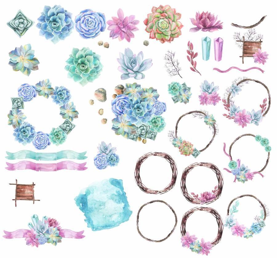 Suluboya çiçek ve çelenkler