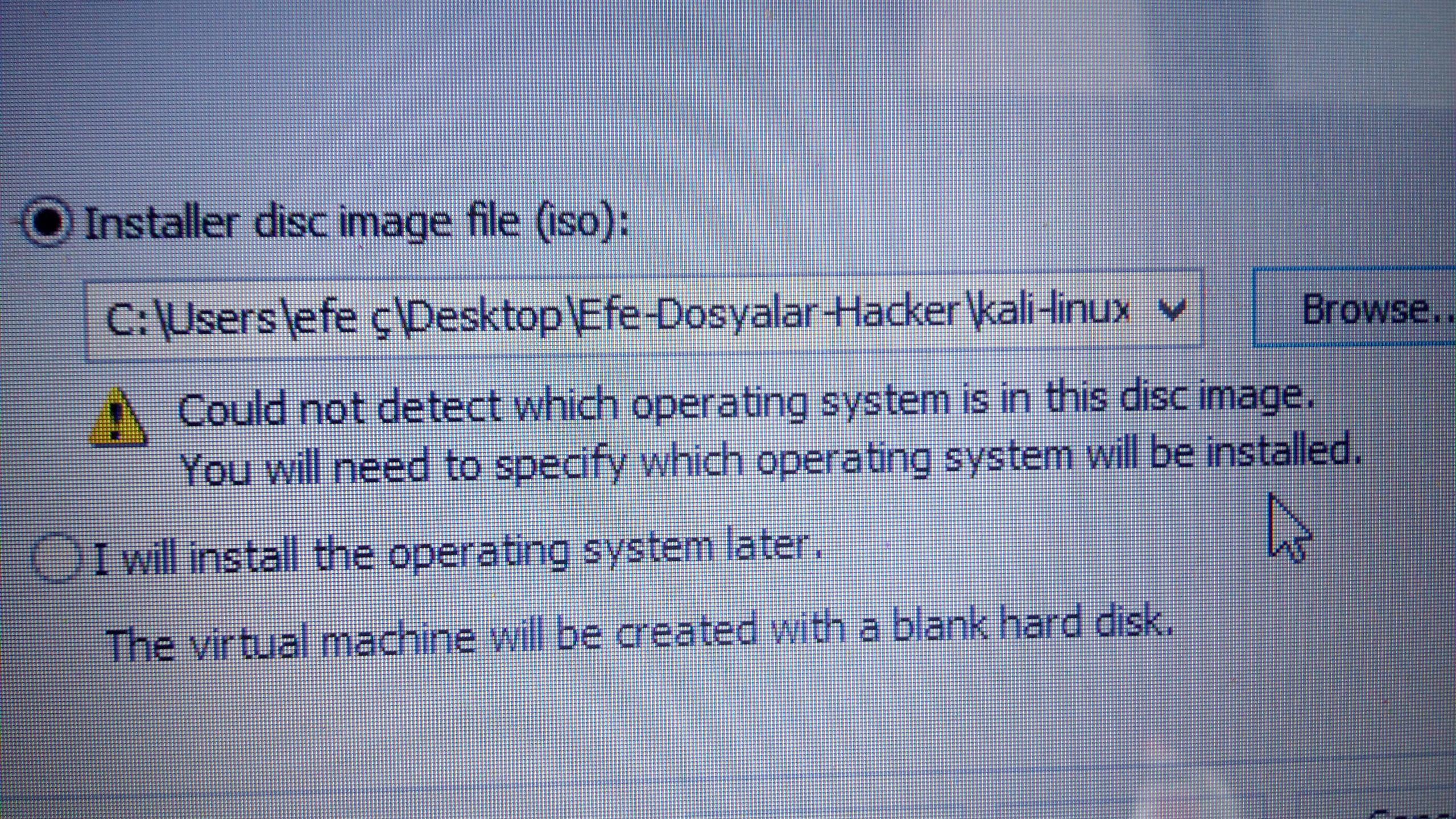 Kali Linux Kurulum .iso hatası