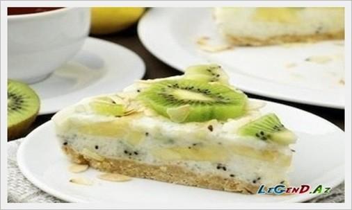 Kivi və banan ilə az kalorili tort