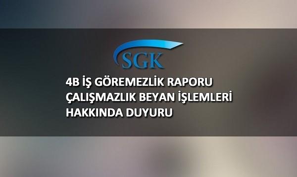 İstanbul SMMM Odasından;4B İş Göremezlik Raporu Çalışmazlık Beyan İşlemleri Hakkında Duyuru