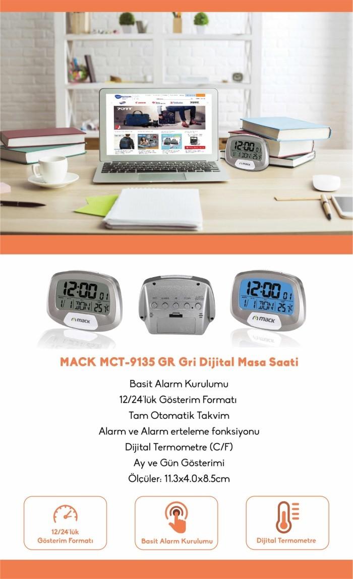 MACK Metalik Gri Masaüstü Dijital Saat MCT-9135