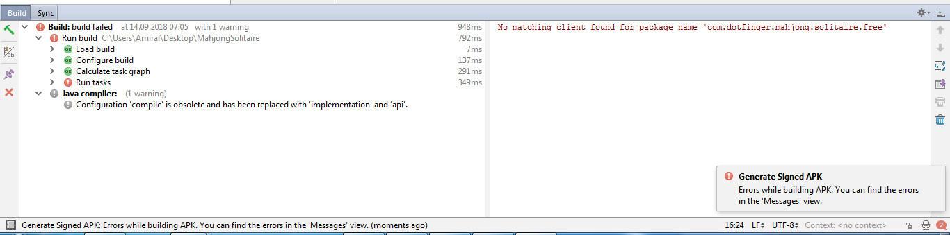 Android Studio da APK dosyası alırken No matching client