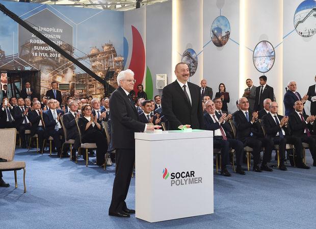 """Prezidentlər Sumqayıtda """"SOCAR Polymer"""" zavodunun açılışında iştirak etdi"""