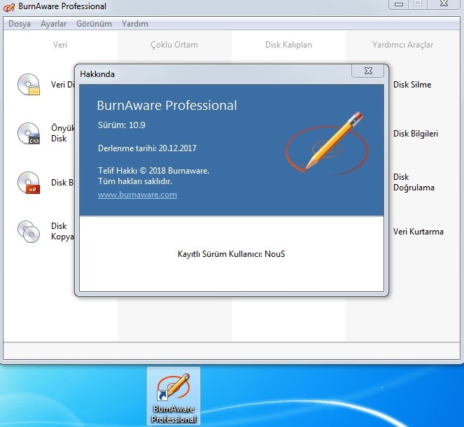 BurnAware Professional 11.0 Türkçe   Katılımsız