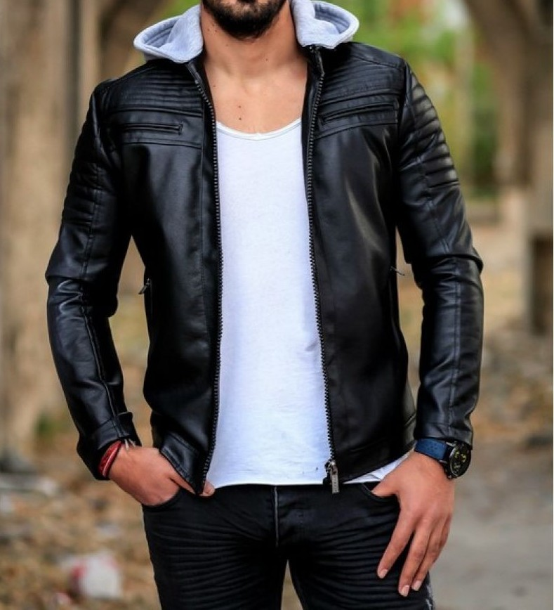 02f93ace8aa37 2019 Season Erkek Slım Fit Kesim Kapşonlu Suni Deri Mont Jacket