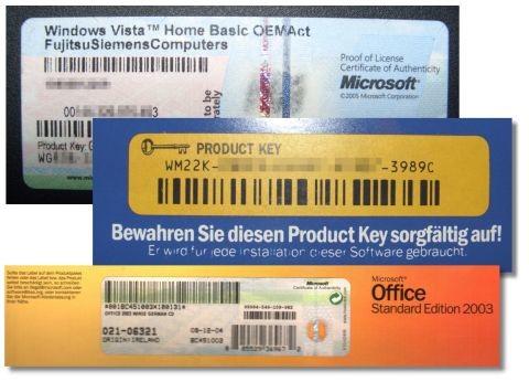 Eski Windows İşletim Sistemlerindeki Ürün Anahtarlarını GösterenEtiketler