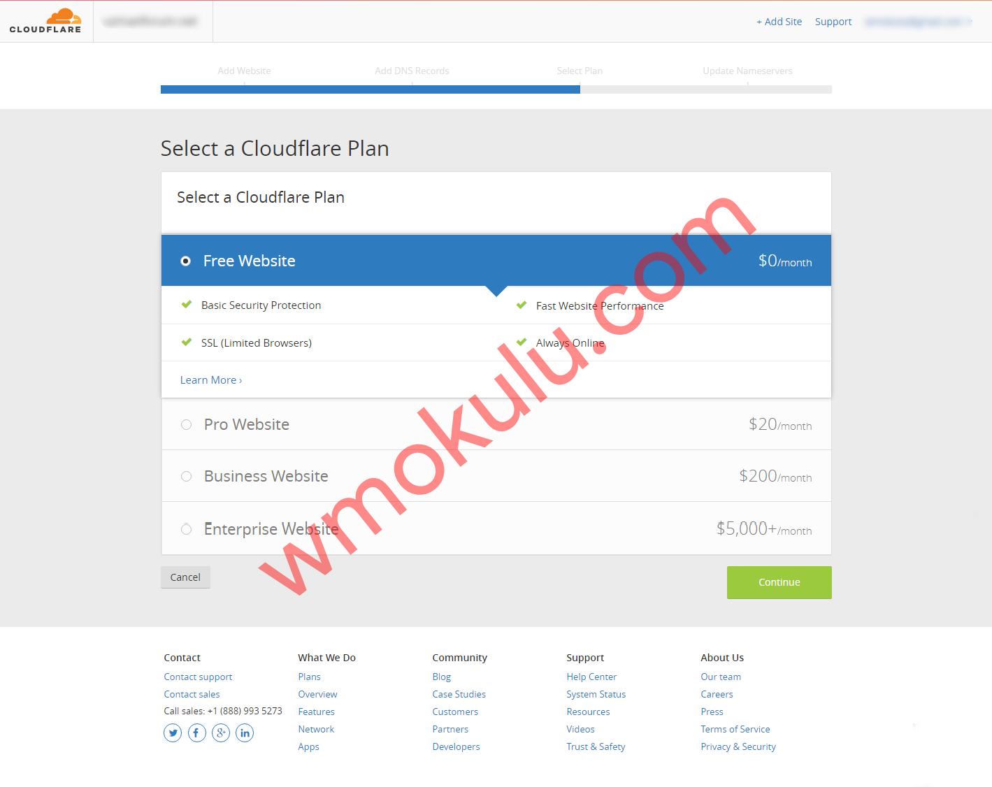 CloudFlare Plan Seeçme