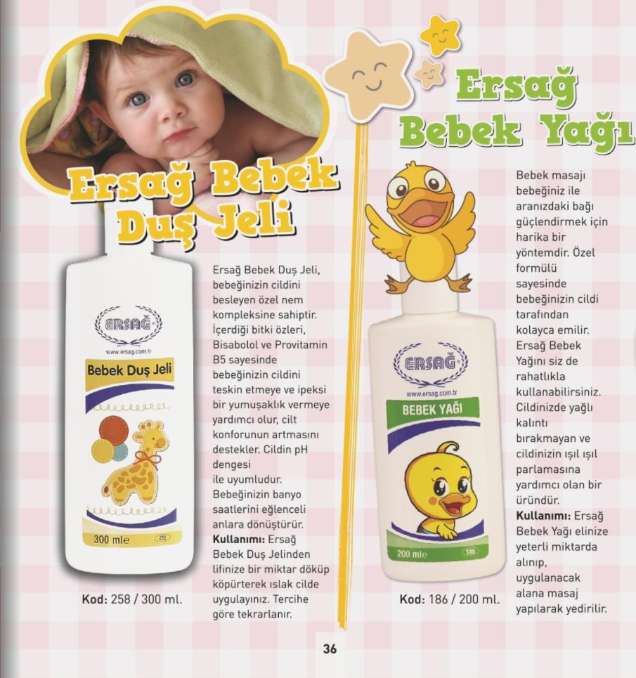 Ersağ Bebek Duş Jeli, Ersağ Bebek Yağı