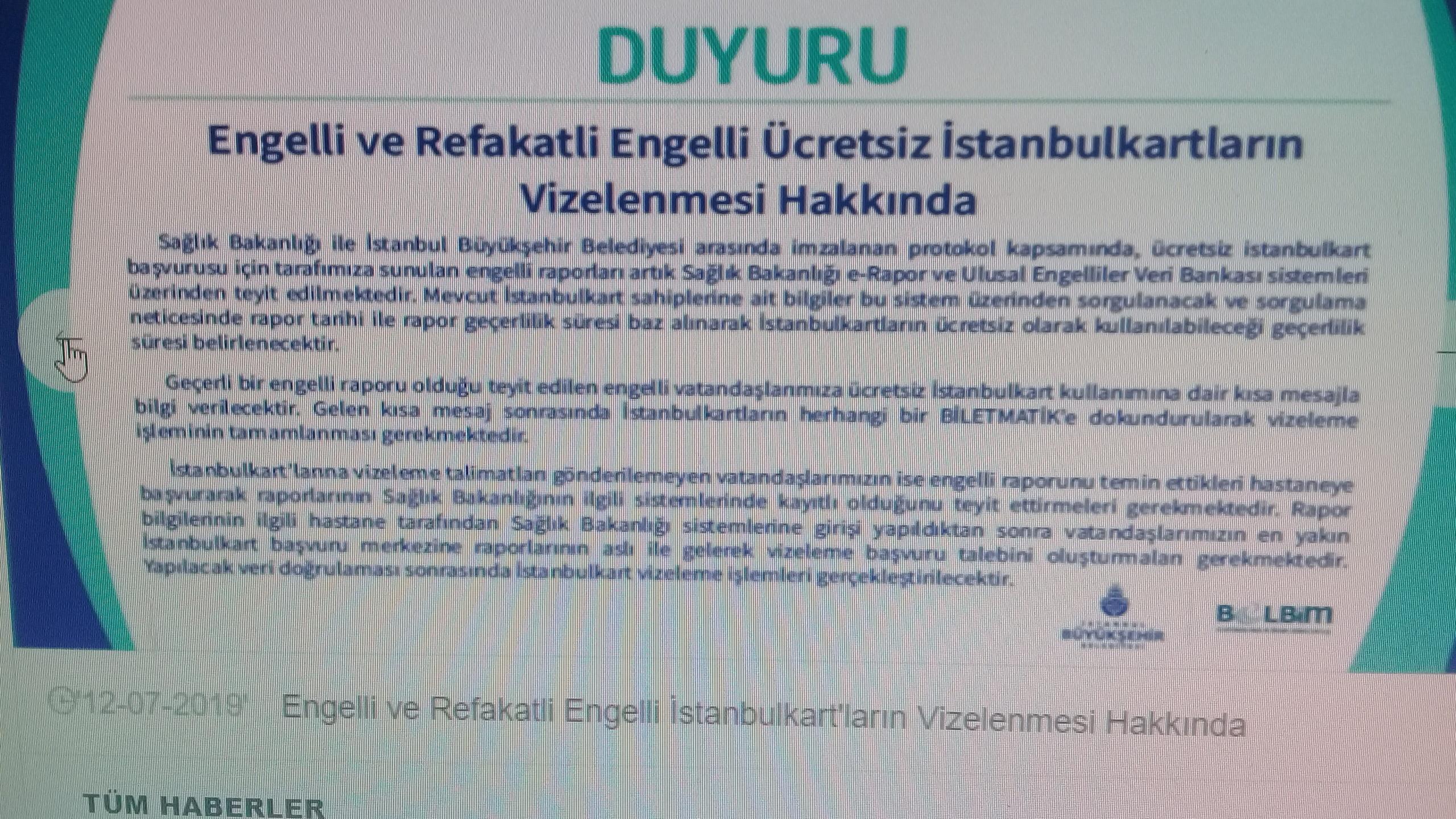 Rgk7Za - İstanbul kart devamlılığı için raporu sisteme işletmemiz gerekiyormuş!?