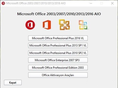 Microsoft Office 2003-2007-2010-2013-2016 AIO 32×64 bit TR