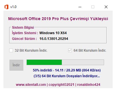 Microsoft Office 2019 Pro Plus Çevrimiçi Yükleyici v1.0