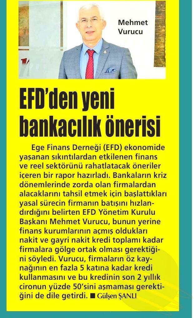EFD DEN YENİ BANKACILIK ÖNERİSİ- Yenigün (İzmir)