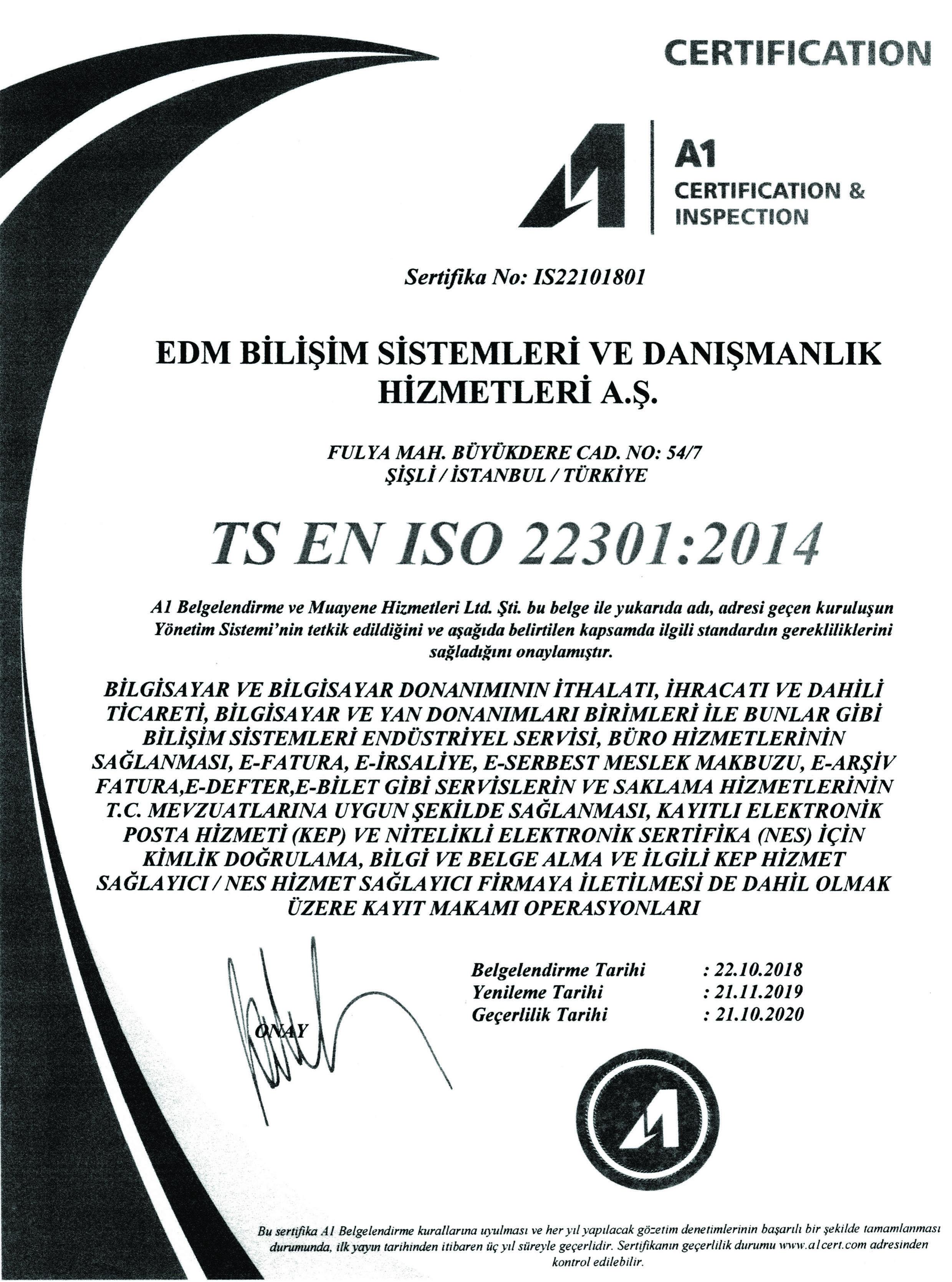TS EN ISO 22301:2014