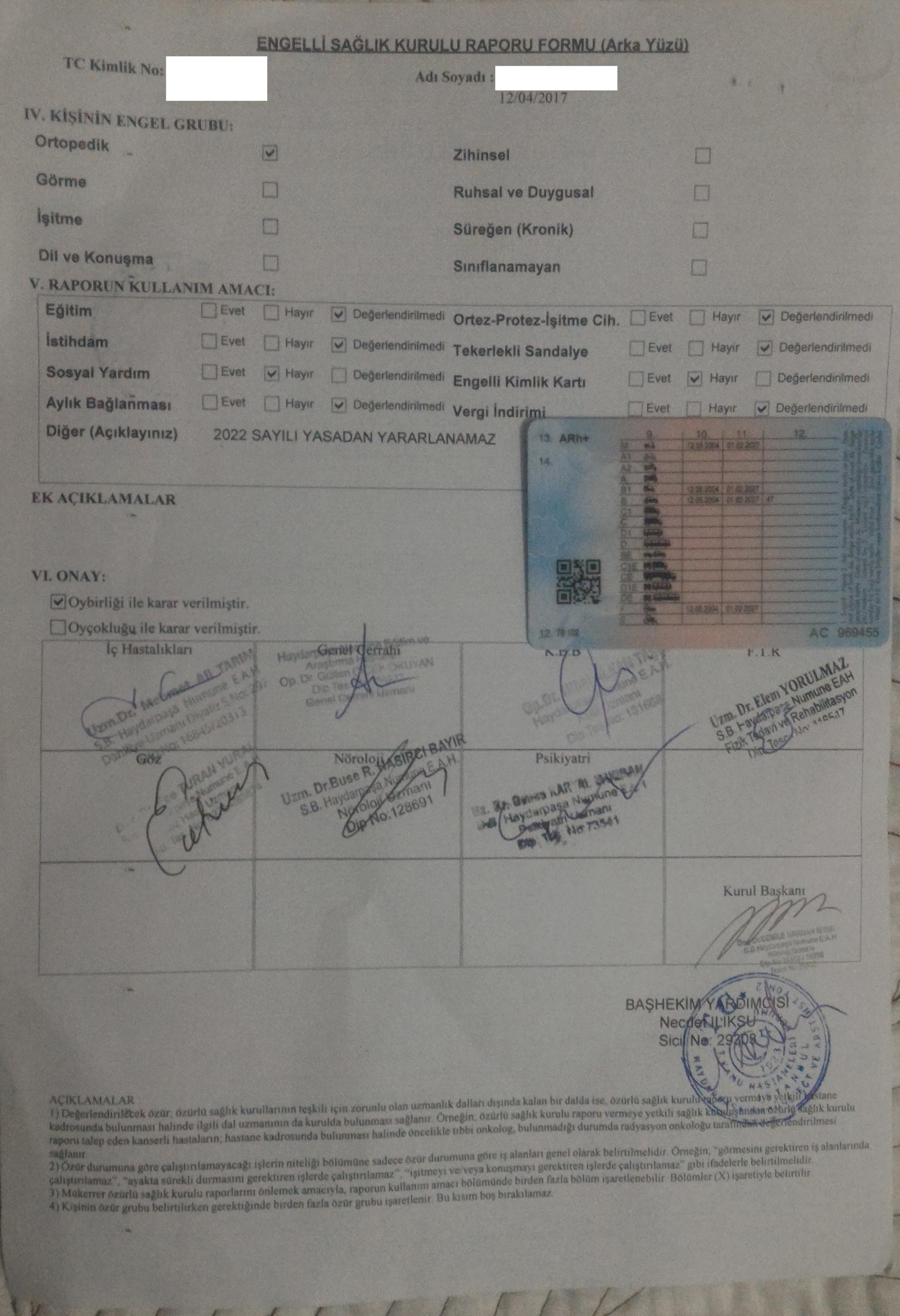 V0RpPy - H sınıfı sürücü belgesi ve ÖTV'siz araç alımı için rapor paylaşımları