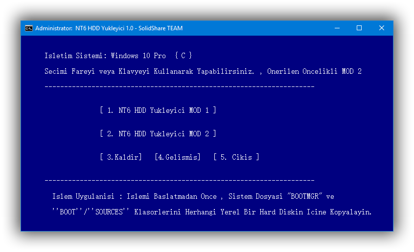 NT6 HDD Yükleyici 1.0 | Portable