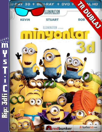 Minions 3d – Minyonlar 3d (2015) ( BluRay m1080p 3d) Türkçe Dublaj 3 boyutlu film indir
