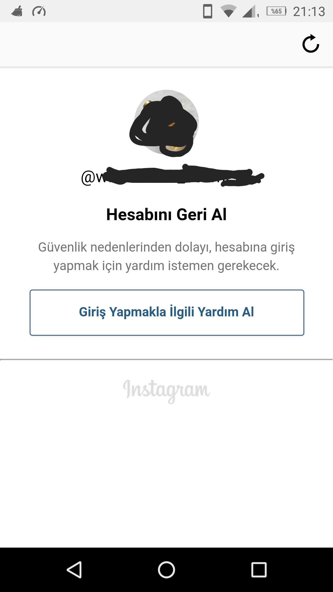 instagram hesabını geri al