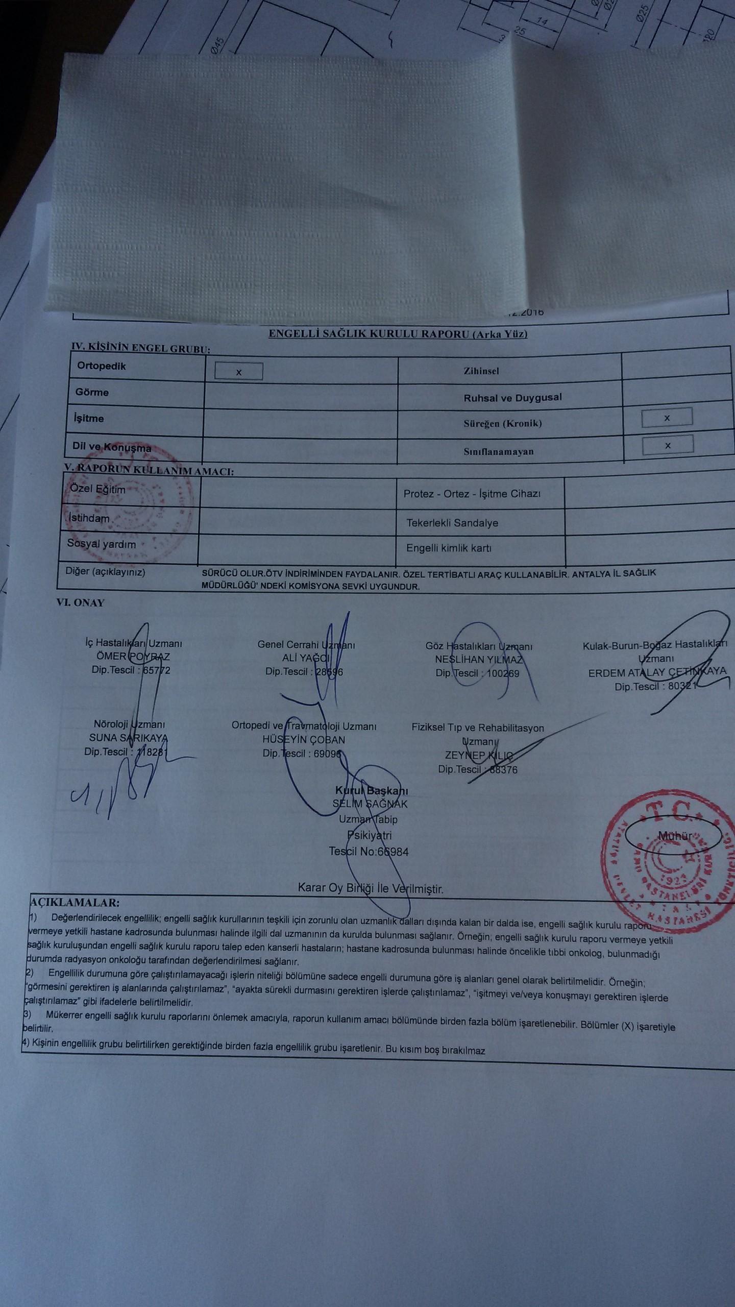 VPYbXj - H sınıfı sürücü belgesi ve ÖTV'siz araç alımı için rapor paylaşımları