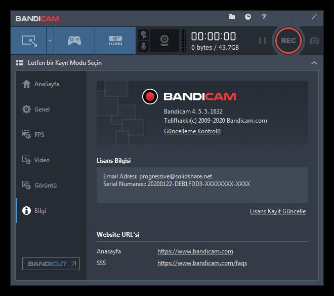 Bandisoft Bandicam 4.5.5.1632 | Katılımsız