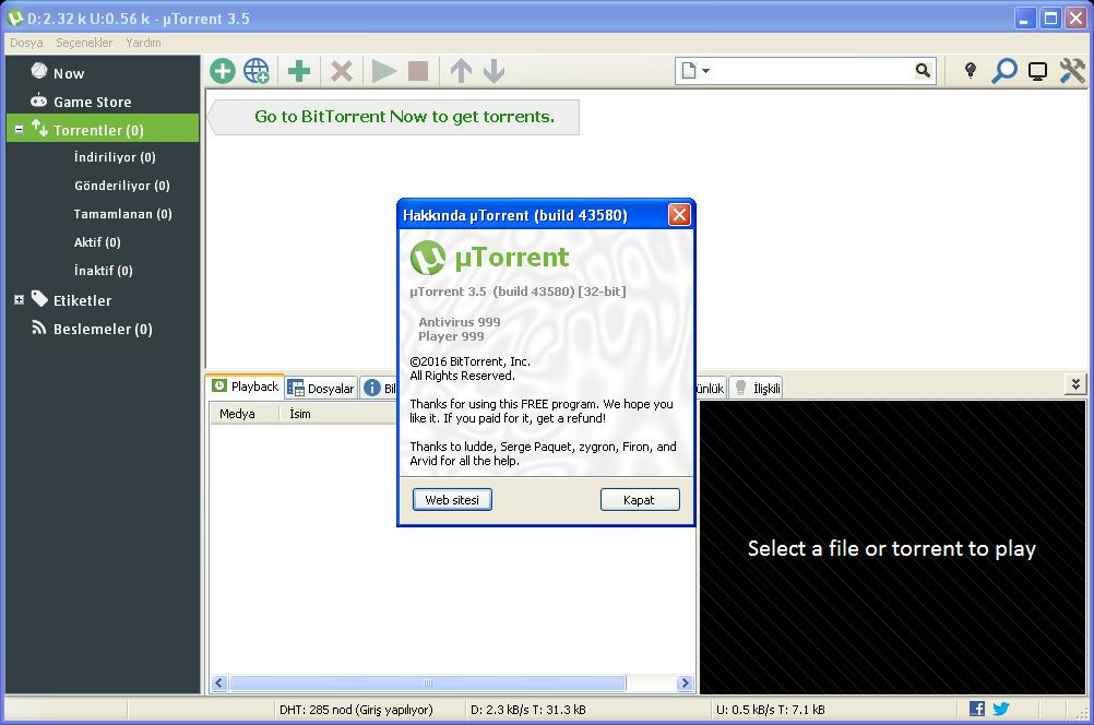 uTorrentPro 3.5.5 Build 45449 | Katılımsız