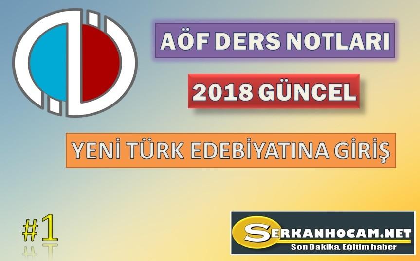 Yeni Türk Edebiyatına Giriş Ders Notları