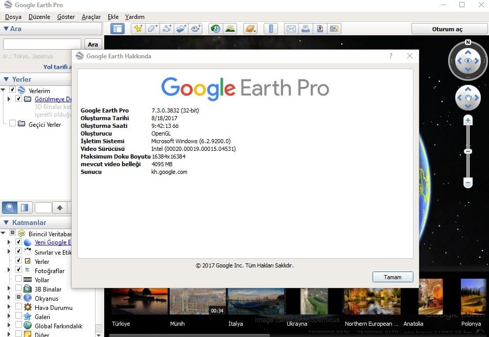 Google Earth Pro 7.3.0.3832 Türkçe | Katılımsız