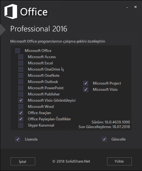 Microsoft Office Pro Plus - Project Pro - Visio Pro 2016 VL TR | Şubat 2020