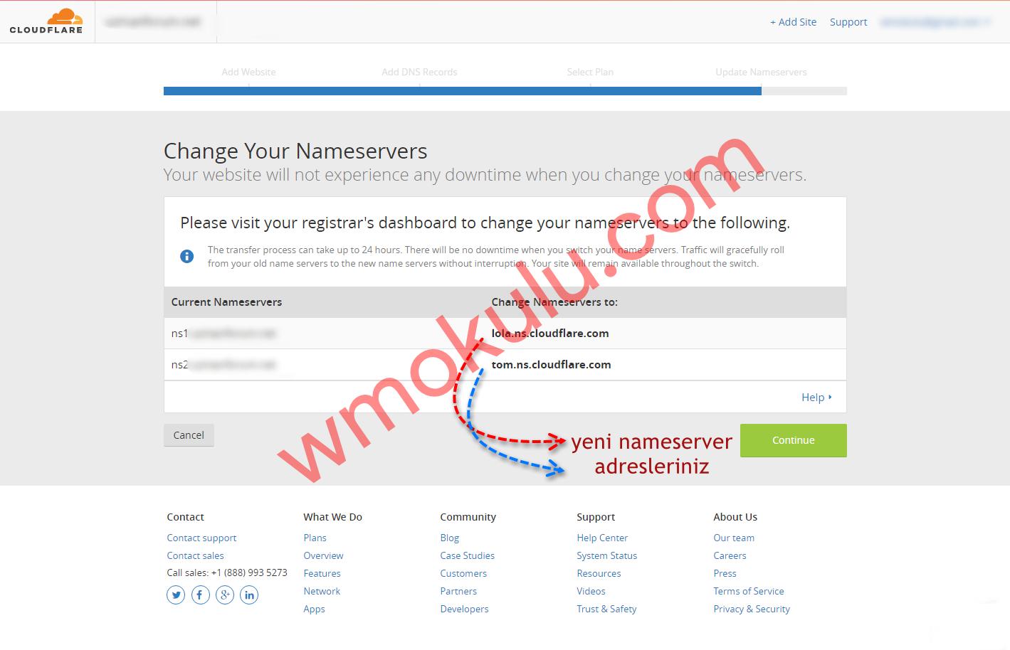 CloudFlare Namaserver Adresleri