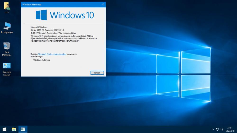 Windows 10 1709 16299.214 | Şubat 2018 | ESD | UEFI