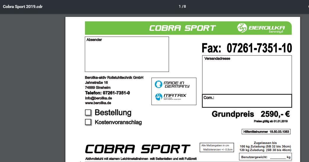 Xb9lZ6 - Berollka Cobra Spor Alman markası aktif tekerlekli sandalye satılıktır