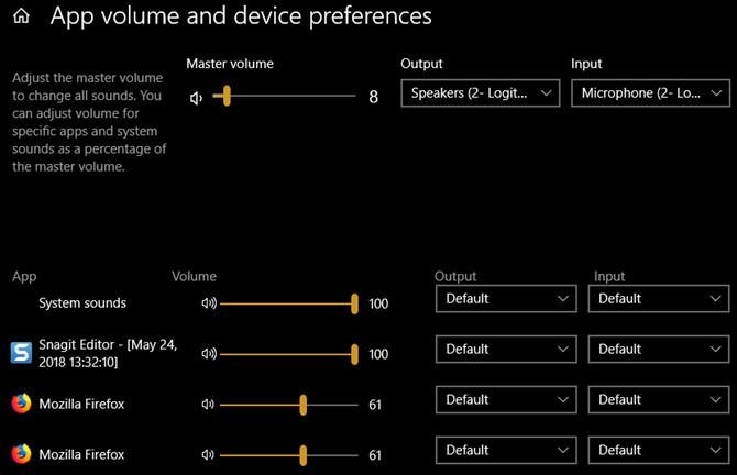 Uygulama başına Ses Çıkışı Cihazlarını Ayarlama