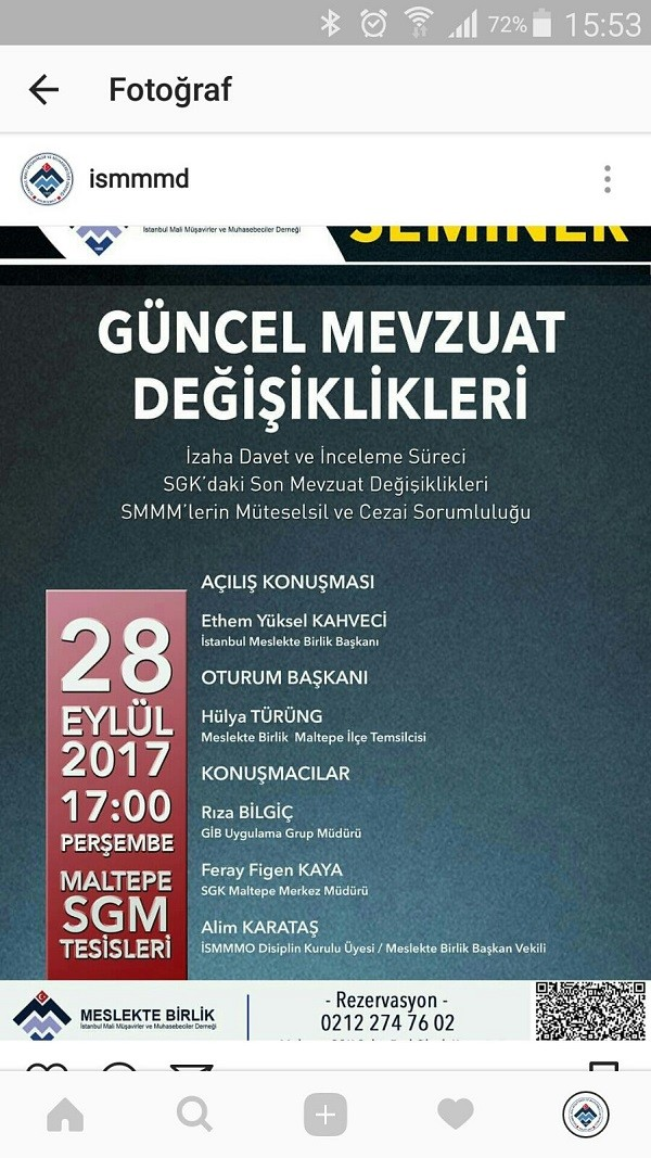 İstanbul Mali Müşavirler ve Muhasebeciler Derneğinden;