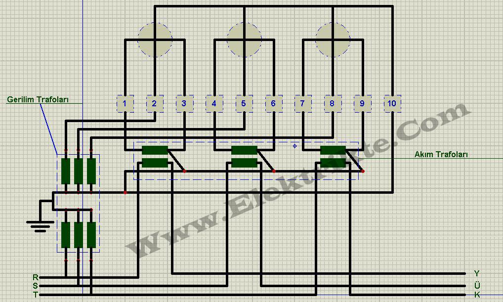 üç fazlı akım ve gerilim trafolu sayaç bağlantı şeması