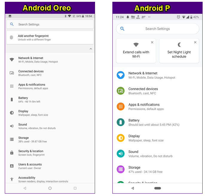 android p ayarlar