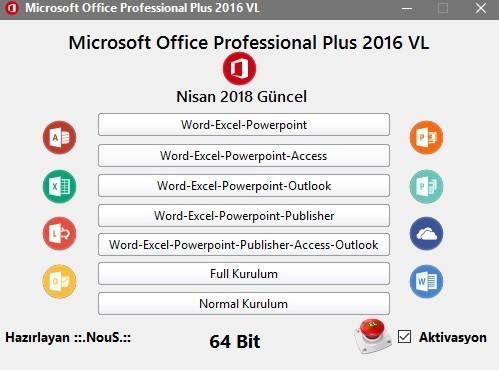 Microsoft Office Professional Plus 2016  VL  - 32 Bit - 64 Bit (Nisan 2018) | Katılımsız
