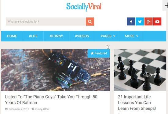 SociallyViral ücretsiz WordPress Teması