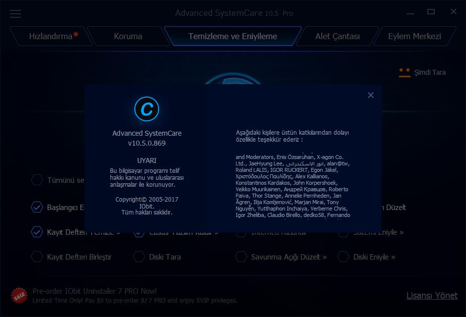 Advanced SystemCare Pro 10.5.0.870   Katılımsız