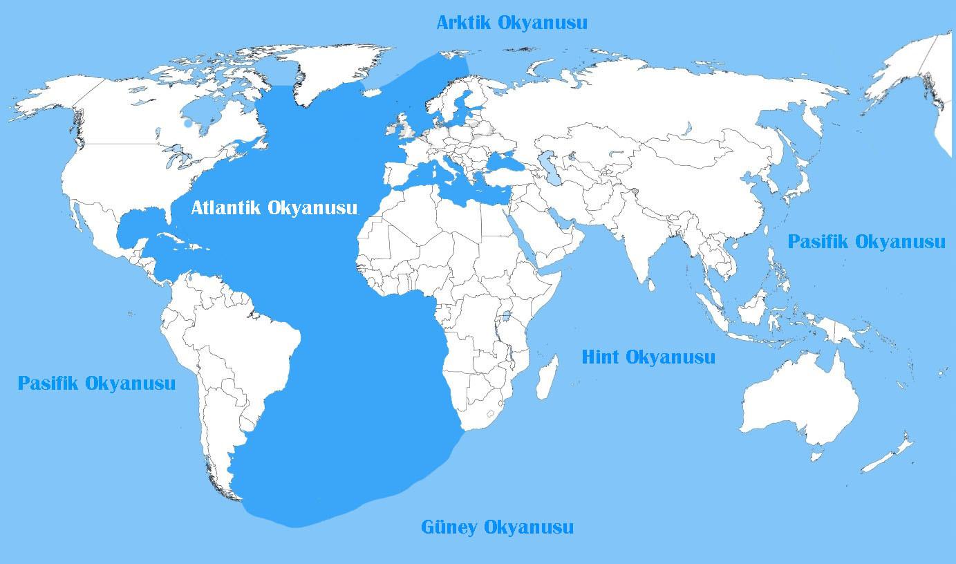 Okyanusların büyükten küçüğe sıralanışı, Okyanus isimleri büyükten küçüğe doğru