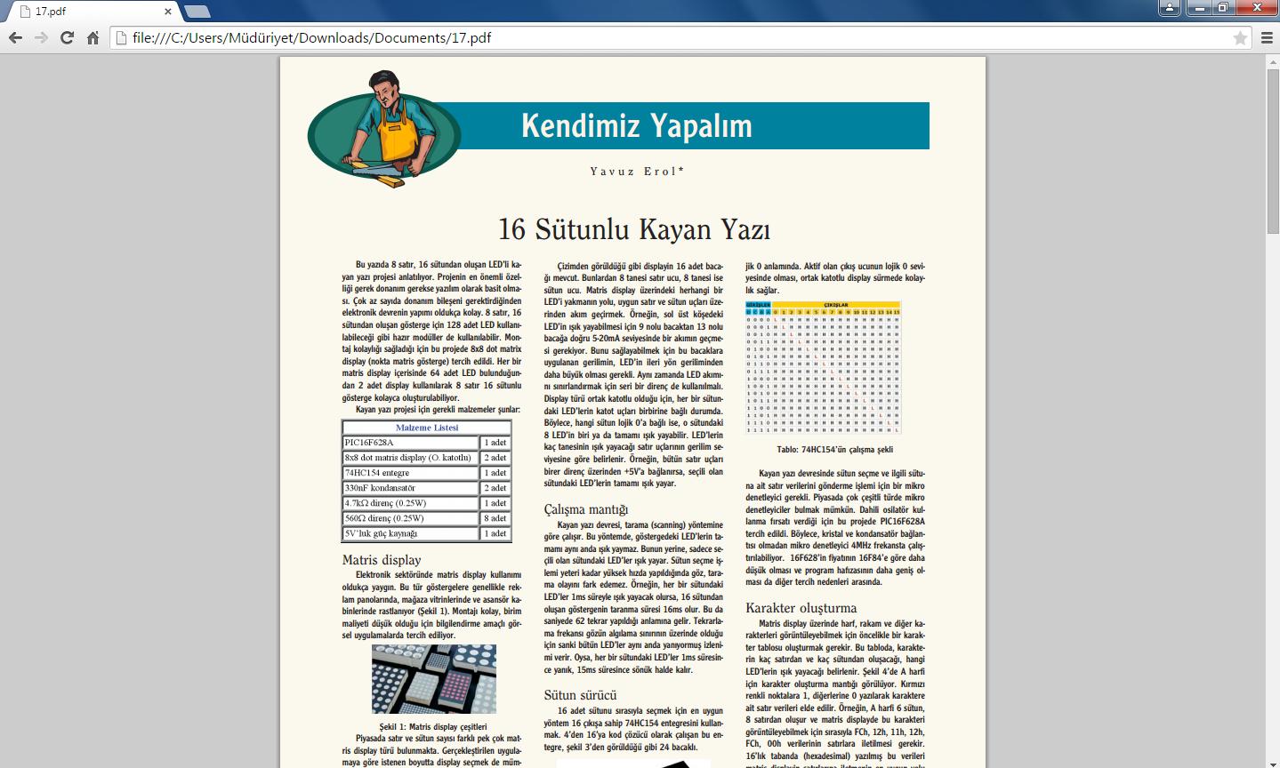 Google Chrome örnek pdf dosyası görüntüleme